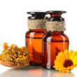 Medicine bottles and calendula, isolated on white — Stock Photo #13359488