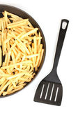 Potatoes fries in the pan on white background close-up — Stock Photo