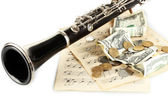 Musical instrument with money isolated on white — Stock Photo