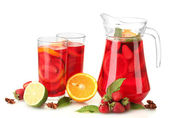 Sangria in jar and glasses with fruits, isolated on white — Stock Photo