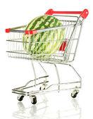 Rijp watermeloen in metalen kar geïsoleerd op wit — Stockfoto