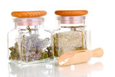 Tablets and bottles with herbs isolated on white — Stock Photo