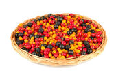 Colorful autumn berries on wicker mat isolated on white — Stock Photo