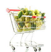 Juicy flavorful pears in cart isolated on white — Stock Photo