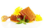 Sweet honeycombs with mint and flowers isolated on white — Stock Photo