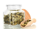 Jar of cardamom isolated on white close-up — Stock Photo
