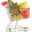 Ripe fruit in metal trolley isolated on white background — 图库照片