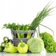 Fresh green vegetables in basket isolated on white — Stock Photo