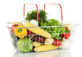 Fresh vegetables in metal basket isolated on white background — Stock Photo