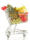 Ripe fruit in metal trolley isolated on white background — Stock Photo