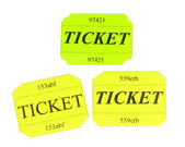 Colorful tickets isolated on white — Stock Photo