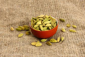 Cardamomo verde in ciotola aspiratore su tela close-up sfondo — Foto Stock