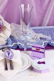 Che serve tavolo di nozze favoloso in colore viola su sfondo bianco e viola tessuto — Foto Stock