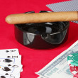 He red poker table with a combination of royal flush — Stock Photo