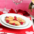 Table setting in honor of Valentine's Day close-up - Photo