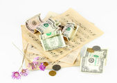 Notes with money isolated on white — Stock Photo
