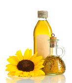 Olie in potten en zonnebloem, geïsoleerd op wit — Foto de Stock