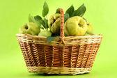 Dulces membrillos con hojas en la cesta, sobre fondo verde — Foto de Stock