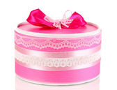 Colorful pink gift with bow isolated on white — Stock Photo
