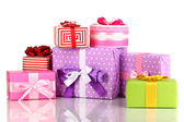 Colorful gifts isolated on white — Stock Photo