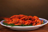 Tasty boiled crayfishes with fennel on table on brown background — Stock Photo