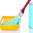 Can of paint with paintbrush and tray with blue paint isolated on white close-up — Stock Photo