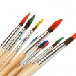 Paint brushes with gouache isolated on white — Stock Photo #13483811