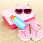 Beach accessories on mat — Stock Photo #13483964
