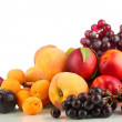 Ripe fruit and berries isolated on white — Stock Photo