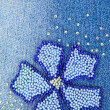 Blue jeans with flower closeup - Stock Photo
