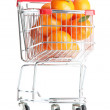 Stock Photo: Ripe tasty tangerines in shopping cart isolated on white