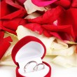 Royalty-Free Stock Photo: Beautiful box with wedding rings on red, white and pink rose petals background isolated on white