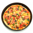 Delicious pizza with seafood in the frying pan isolated on white — Stock Photo