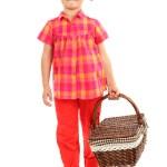 linda menina com cesto isolado no branco — Foto Stock #13485483