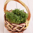 Fresh garden cress on basket on wooden table — Stock Photo