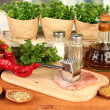 Composition of raw meat, vegetables and spices on wooden table close-up — Stock Photo
