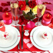 Stock Photo: Table setting in honor of Valentine