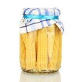 Jar with canned corn isolated on white — Stock Photo