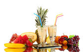 Milk shakes with fruit isolated on white close-up — Stock Photo