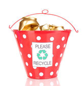 Recycling bin isolated on white — Stock Photo