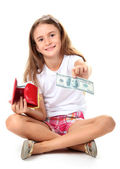 Beautiful little girl and purse with money, isolated on white — Stock Photo