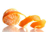 Ripe tasty tangerine with peel isolated on white — Stock Photo