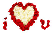 IBeautiful heart of white rose petals surrounded by red petals isolated on white — Stock Photo