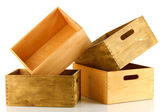 Prázdné dřevěné bedny izolovaných na bílém — Stock fotografie
