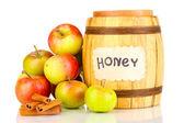 Miele e mele con cannella isolato su bianco — Foto Stock