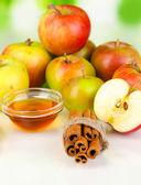 Miele e mele con cannella su fondo naturale — Foto Stock