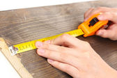 Measuring wooden board close-up — Zdjęcie stockowe