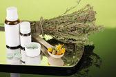 Lahve léků a bylin na zeleném pozadí. koncepce homeopatie — Stock fotografie