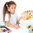 Cute little girl painting a picture, isolated on white — Stock Photo