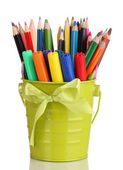 Colorful pencils and felt-tip pens in green pail isolated on white — Stock Photo